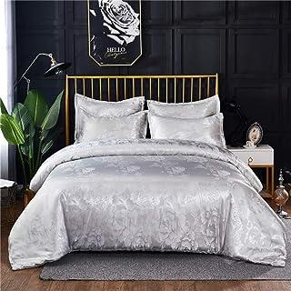 Parrure lit 220x240,Ensemble de literie Satin Jacquard ensemble de housse de couette broderie ensemble de housse de lit mo...