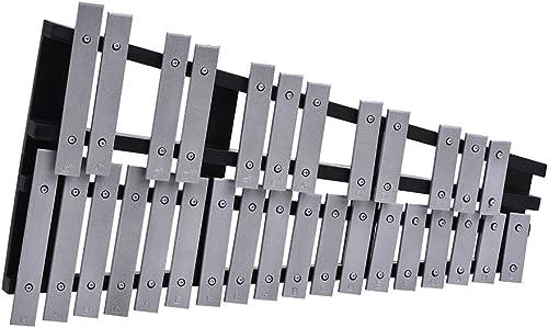 ammoon Glockenspiel plegable xilófono 30 notas educativo percusión instrumento musical marco madera barras de alumini...