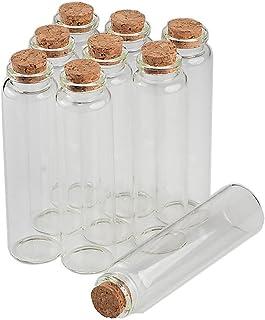 Jarvials - Mini botella vacía con tapón de corcho de 10 ml, 15 ml, 20 ml, 25 ml, 30 ml, 40 ml, 55 ml, tarros de cristal idea para boda pequeñas botellas de deseos al por mayor, Transparent Clear, 55ml