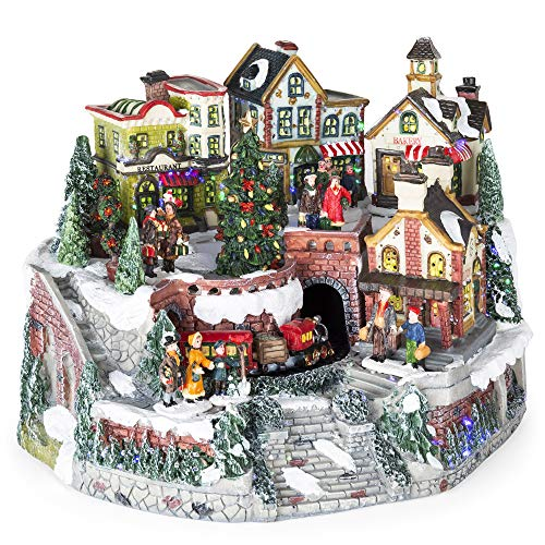 Best Choice Products 12in Pre-Lit Hand-Painted Animated Tabletop Christmas Village Set w/Rotating Train, Fiber Optic Lights, Multicolor