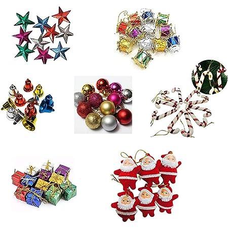IMTION Combo ( 80 pcs Christmas decoration set + Free Cartoon Striker kids use )Small/Mini Christmas Tree Decorations Set (Balls, Bells, Gifts, Drums, Stars, Candy Sticks & Santa Claus and others )