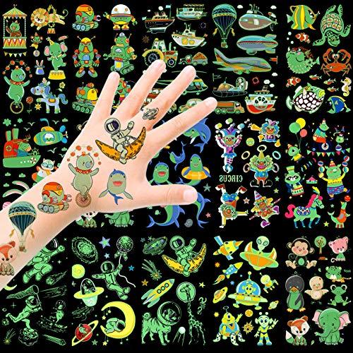 HOWAF Tattoo Kinder, Temporäre Tattoos Set, im Dunkeln leuchten Tattoos Kinder, Weltraum Zirkus Tier Fahrzeuge Dolphin Kindertattoos Aufkleber für mädchen Jungen Kindergeburtstag Mitgebsel Geschenk