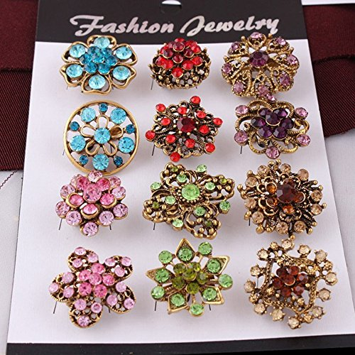 USIX Pack of 12 Floriated Assorted Mini Sparkling Crystal Rhinestone Button Brooches Pin Embellishment Set for Wedding Bouquet Cake Dress Corsage Boutonniere DIY Decoration(Style 2 Rainbow)