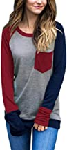 Howstar Women's Blouse, Long Sleeve Fashion Patchwork T Shirt for Women Casual Tops