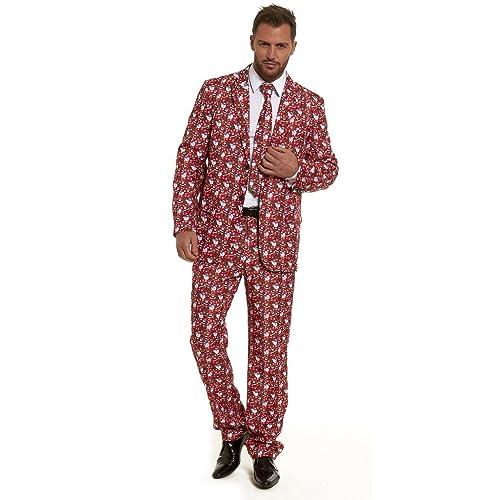 Mens Reindeer Cool Costume Jacket /& Tie Christmas Party Novelty Xmas Fancy Dress