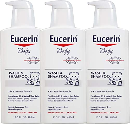 Eucerin Baby Wash & Shampoo - 2 in 1 Tear Free Formula, Hypoallergenic & Fragrance Free, Nourish and Soothe Sensitive...