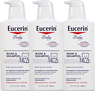 Eucerin Baby Wash & Shampoo - 2 in 1 Tear Free Formula, Hypoallergenic & Fragrance Free, Nourish and Soothe Sensitive Skin...