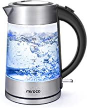 Electric Kettle, Miroco 1.7L Cordless Glass Kettle Electric Tea Kettle BPA-Free, Stainless Steel Finish, Fast Boiling with Auto Shut Off, Boil-Dry Protection, Hot Water Kettle with LED Indicator Light