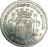 Moneda réplica de latón bañado en Plata de 5 Pesetas 1869 del Gobierno Provisional de España