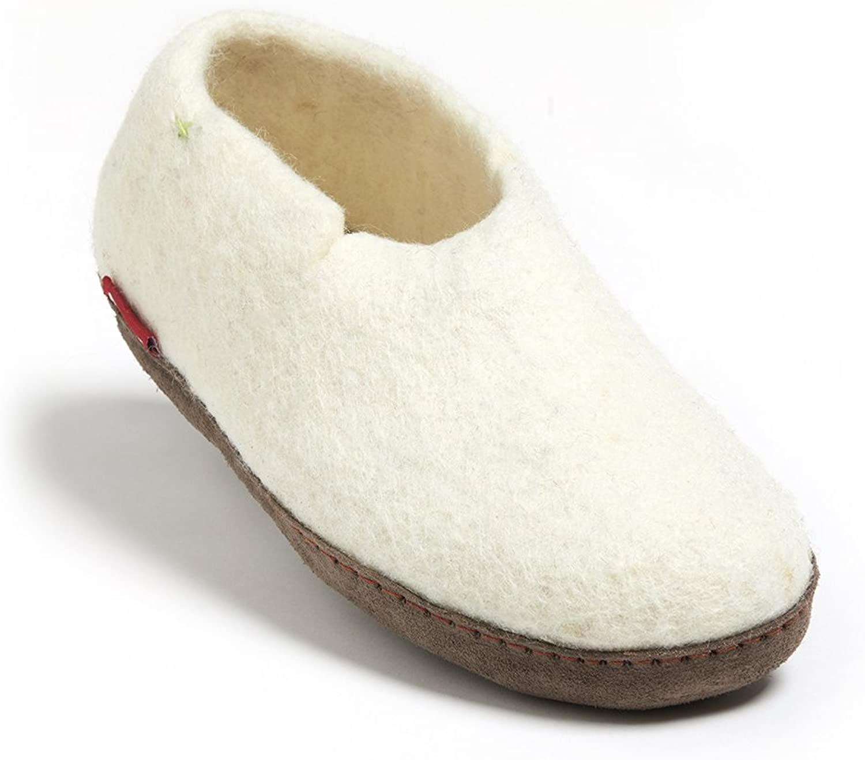Betterfelt Handgefilzte Wollene Wollene Hausschuhe für Damen und Herren - Natürliche Wolle - Ledersohle - Größe 44 - Weiß - Fairtrade - Klassische Filzschuhe  bis zu 70% Rabatt