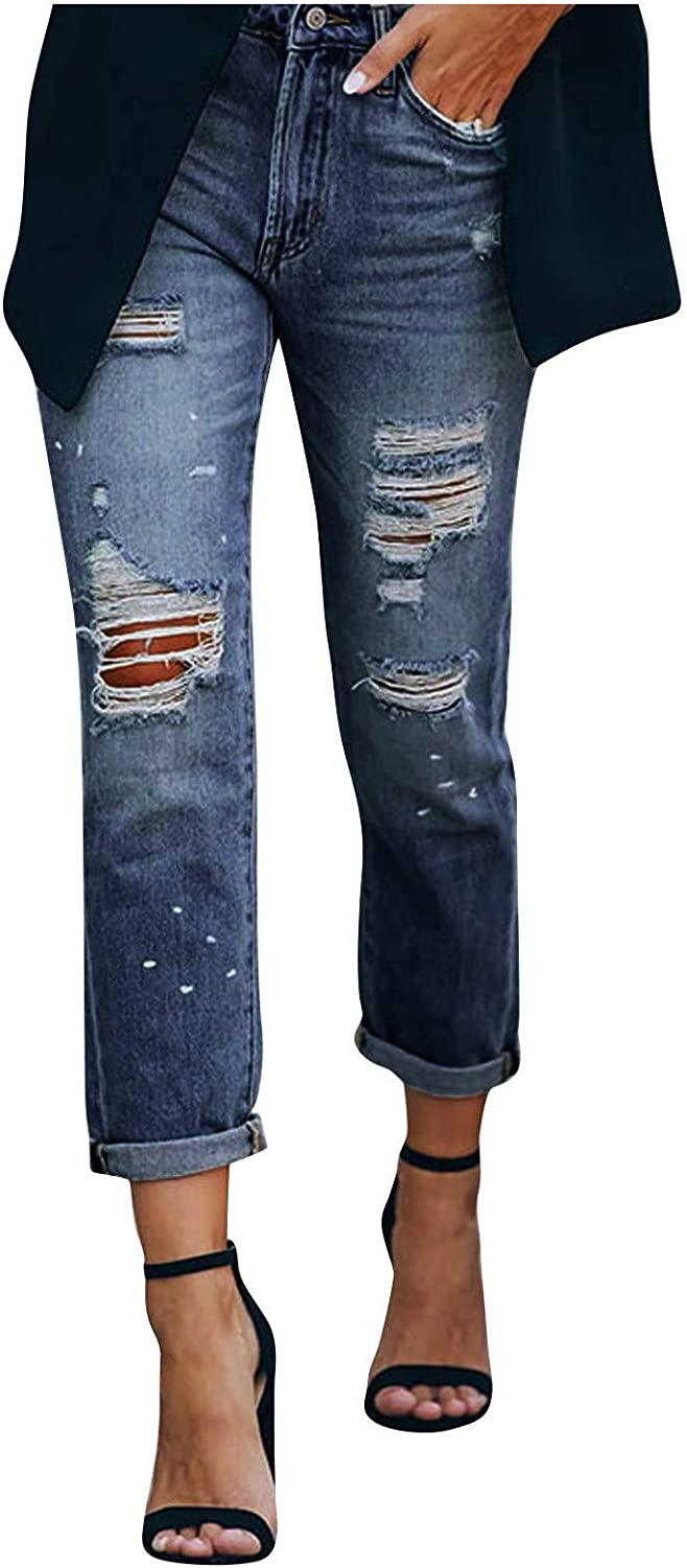 MASZONE Y2K Fashion Jeans for Women Stretch High Waist Hole Jeans Baggy Ankle Denim Pants with Pocket Vintage Streetwear