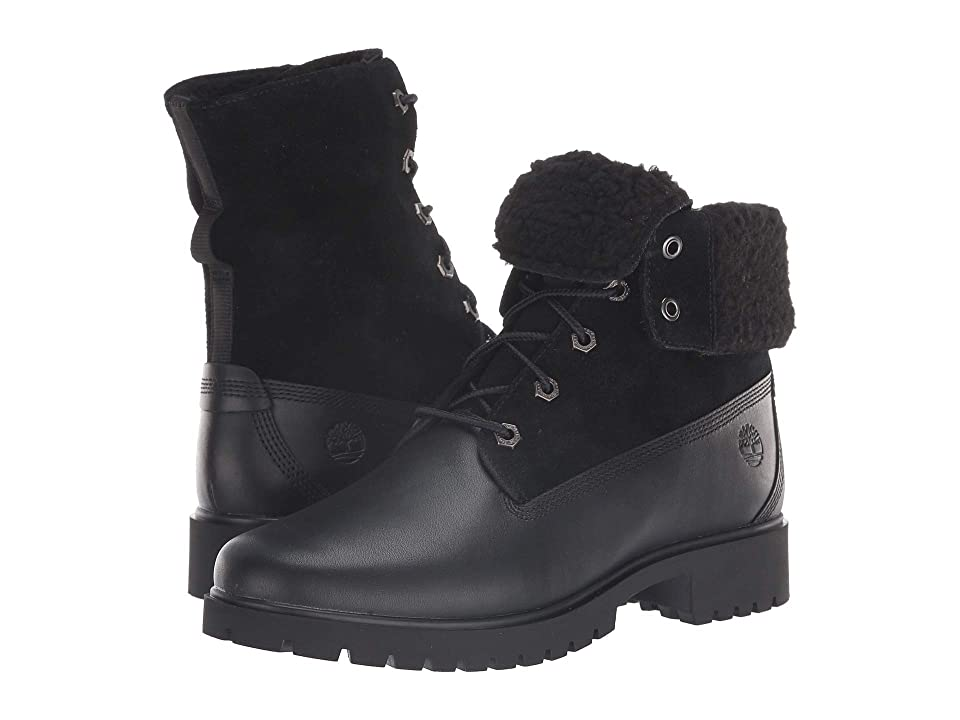 Timberland Jayne Waterproof Teddy Fleece Fold Down (Black Full Grain) Women