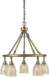 allen + roth Lynlore 24.02-in 5-Light Old Brass Vintage Mercury Glass Draped Chandelier