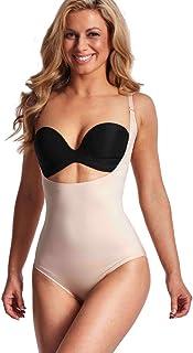 LaSculpte Women Seamless Tummy Control Shapewear Open Bust Bodysuit Body Shaper, Black/Nude, 10-22