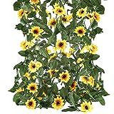 HUAESIN 4pcs Künstliche Hängepflanze Sonnenblumen Girlande Blumen Hängend Kunstblumen Sonnenblume Hängend Blumen Girlande für Balkon Hochzeit Fahrrad Friedhof Draußen Deko Gelb 230CM
