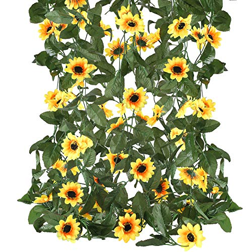 HUAESIN 4 Pcs Sunflower Garlands Artificial Sunflower Vines Rattan Fake Silk Sunflower Hanging Plants for Autumn Christmas Wedding Party Wall Home Garden Balcony Decor 7.5Ft