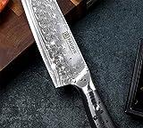 PAUDIN Damast Santokumesser 17cm - Profi Küchenmesser Messer aus Damaststahl mit Micarta-Griff - 7