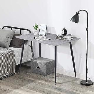 GOLDFAN Table à Manger Rectangulaire en Bois Design Rétro, Pieds en Métal Noir Utilisée dans Le Salon Salle à Manger Burea...