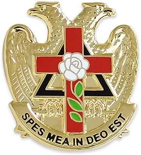 32nd Degree Rose Croix Cross Gold Masonic Lapel Pin - 7/8