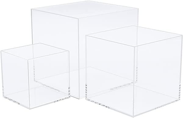 CRUODA Acrylic Display Case 3x3x3 4x4x4 5x5x5 Inches 3pc Display Box Museum Box Case Jewelry Book Showcase 5 Sided Acrylic Cube