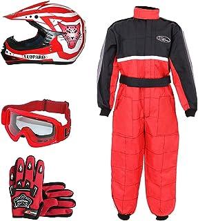 S + Camo Traje de Motocross para Ni/ños S 49-50cm S 5cm Leopard LEO-X19 Rojo Casco de Motocross para Ni/ños Guantes 5-6 A/ños + Gafas