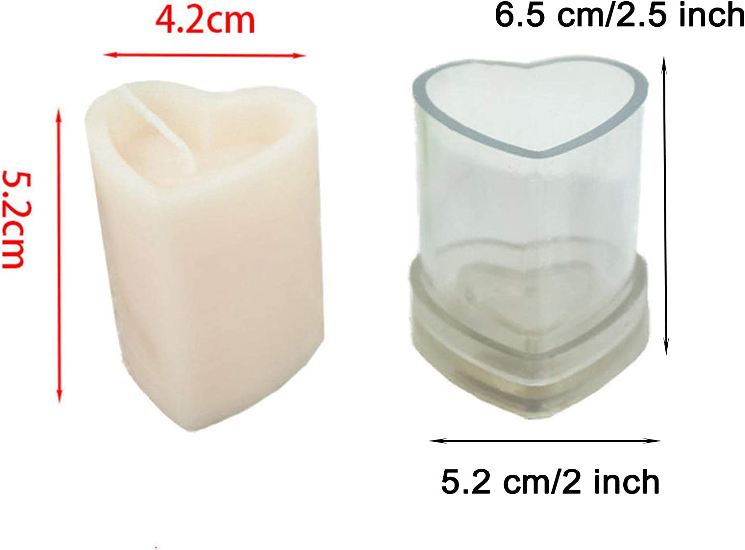 EORTA 3D Heart Candle Mold Acrylic Column Candle Making Tool Handmade Soap Mold for DIY Crafts Clay Bath Bomb 2.5x2 Inch Clear