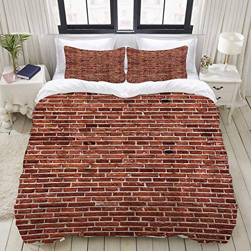 Yaoni Duvet Cover,Red Wall Brick,Bedding Set Ultra Comfy Lightweight Microfiber Sets