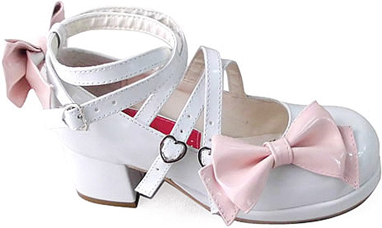 Antaina Low Heel White PU Buckle Bows Sweet Chunky Women's Lolita Sandals