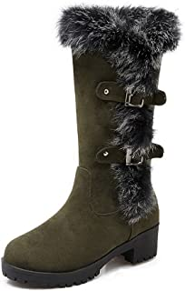 Womens Imitated Suede Pull-On Solid Kitten-Heels Round Closed Toe Boots, ArmyGreen-Platform, 34