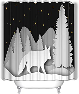 Xunulyn Waterproof Fabric Shower Curtain for Bathroom,Colorful Funny Bathroom Curtains with Standar 60x72 INCH Fox Forest Layered Paper Style Template d Carving ep