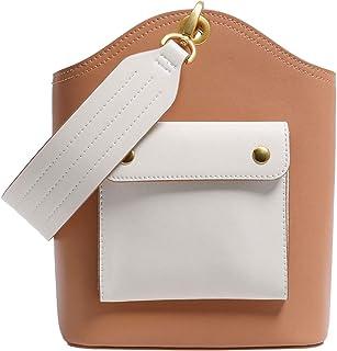 Cross Body Handbags Niche bucket bag female new cowhide wide shoulder strap handbag bag shoulder Messenger bag (Color : Orange)