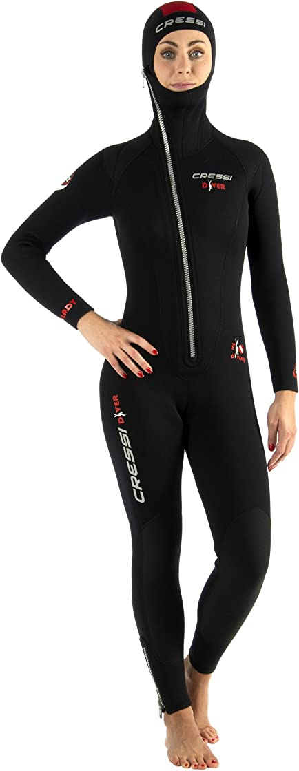 Muta sub donna cressi diver lady monopiece wetsuit, muta monopezzo all-in-one disponibile in 5/7 mm LU488001