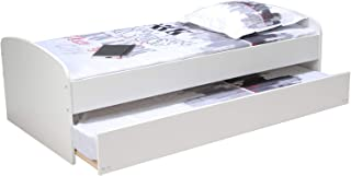 WEBER INDUSTRIES Lit Gigogne Swing 90x190 CM avec 2 sommiers/Blanc, Bois, 90X190