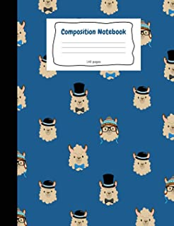 Primary Composition Notebook: Blue Llama Story Journal Notebook. D'Nealian Ruled Handwriting Pages. Cute Composition Book....