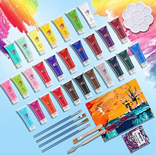 Anpro 37 Stück Acrylfarben Set, 28 x 22ml Acrylfarben, ist mit Malwerkzeugen ausgestattet. Acrylfarbe kann auf Papier, Stein, Holz usw. verwendet werden und ist für Künstler und Anfänger geeignet.