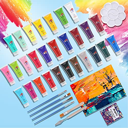 36 Piece Acrylic Paint Set, Anpro Painting Supplies Set Includes 28 Acrylic Paints, brushes, palette, drawing board , oil painting scraper for beginners, students and artists