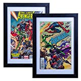 SC Comic Book Frame 2 Pack, Acid-Free Matting, 98% Ultraviolet UV Protected, Insert Mat fits Comics up to 6 3/4' x 10 1/4', Sawtooth Hanger Installed for Wall Mount