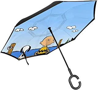 Inverted Umbrellas Snoopy And Charlie Brown Reverse Folding Umbrella Windproof UV Protection Big Straight Umbrella For Car Rain Outdoor With C-Shaped Handle