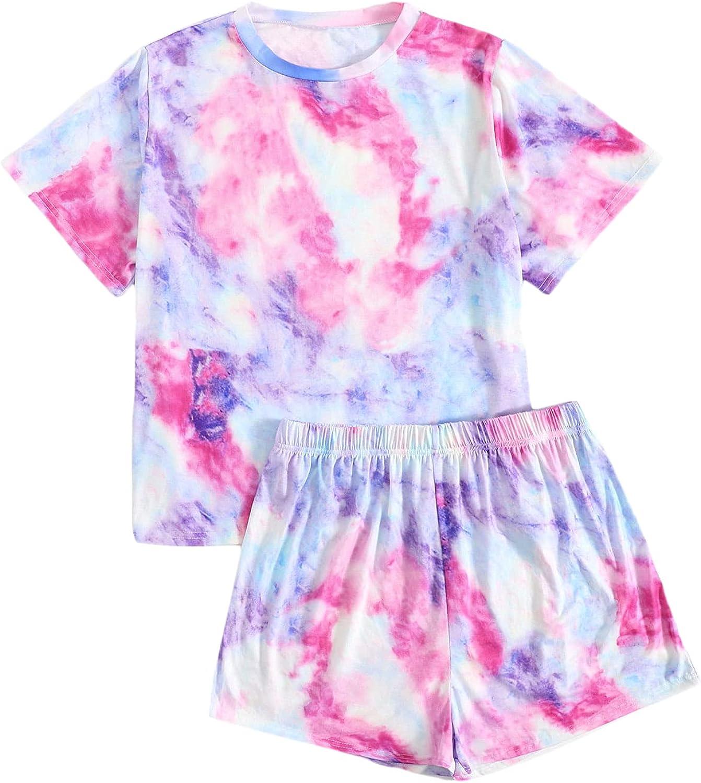 ROMWE Women's Plus Size Tie Dye Shorts Pajma Set Short Sleeve T Shirt 2 Piece PJ Set Sleepwear
