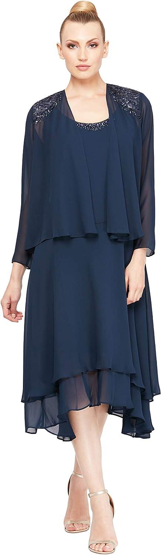 S.L. Fashions Women's Embellished Chiffon Tiered Jacket Dress