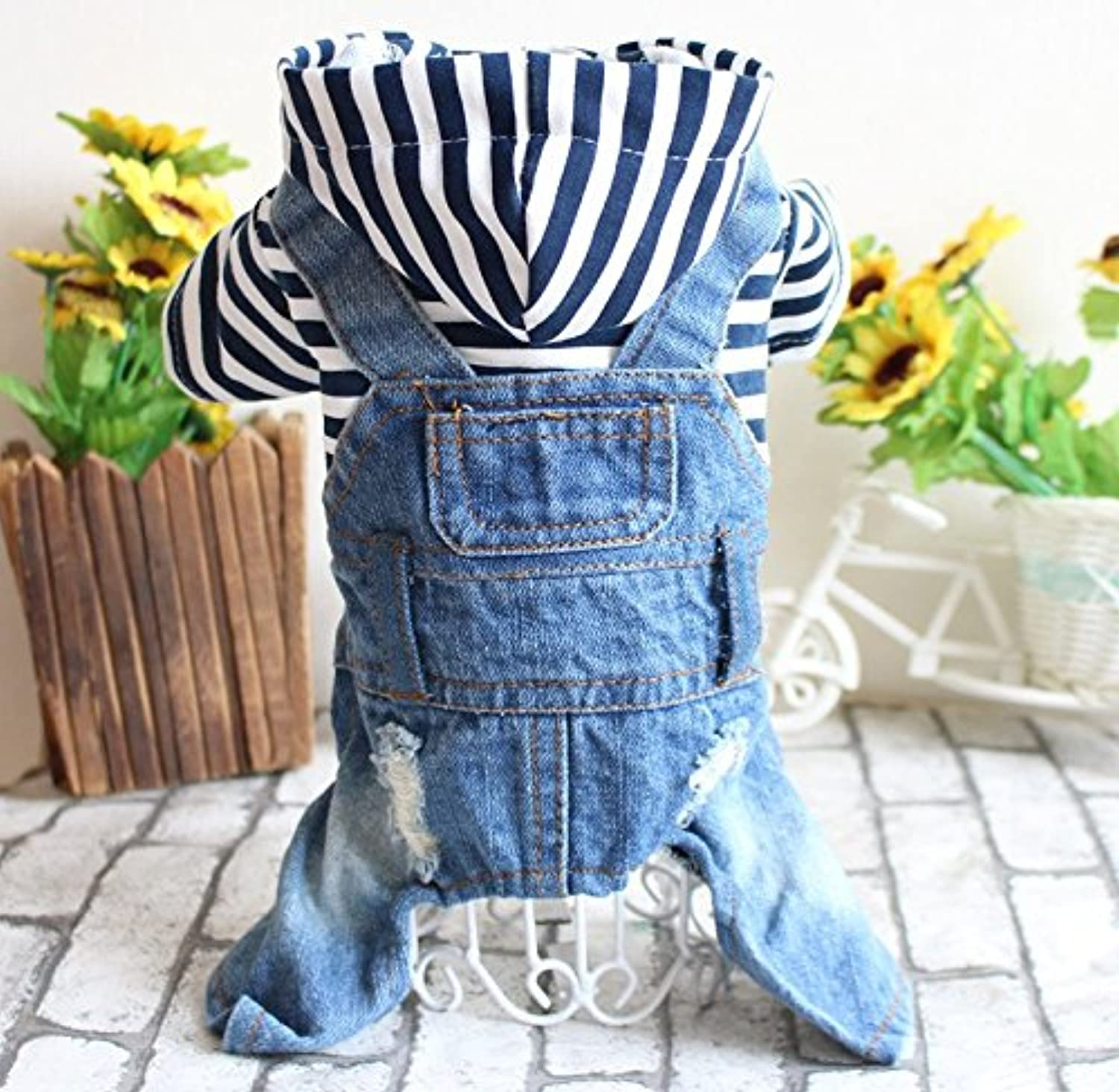 Lvon Pet Clothes Dog Jeans Jacket Cool bluee Denim Coat Small Medium Dogs Lapel Vests Classic Hoodies Puppy bluee Vintage Washed Clothes  Small