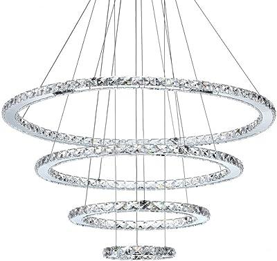 Lámpara colgantes cristal LED luces colgantes moderna 4-anillos iluminación colgante luz blanca plafones de altura ajustable villa sala de estar dormitorio comedor hotel luz de techo de redonda, 96W