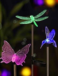 BRIGHT ZEAL LED Solar Stake Lights Outdoor - Solar Light LED Garden Decor Statues - Patio Lights LED Outdoor LED Lights Li...
