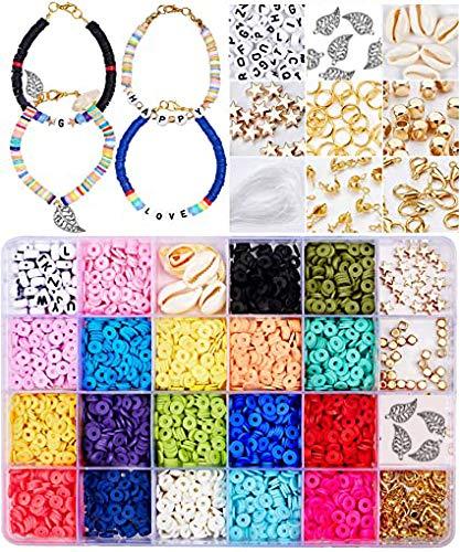 Wuudi - Cuentas de colores para joyas, pulseras, creación de joyas, kit de cuentas para manualidades, collar artesanal, kit de regalo de perlas para niñas