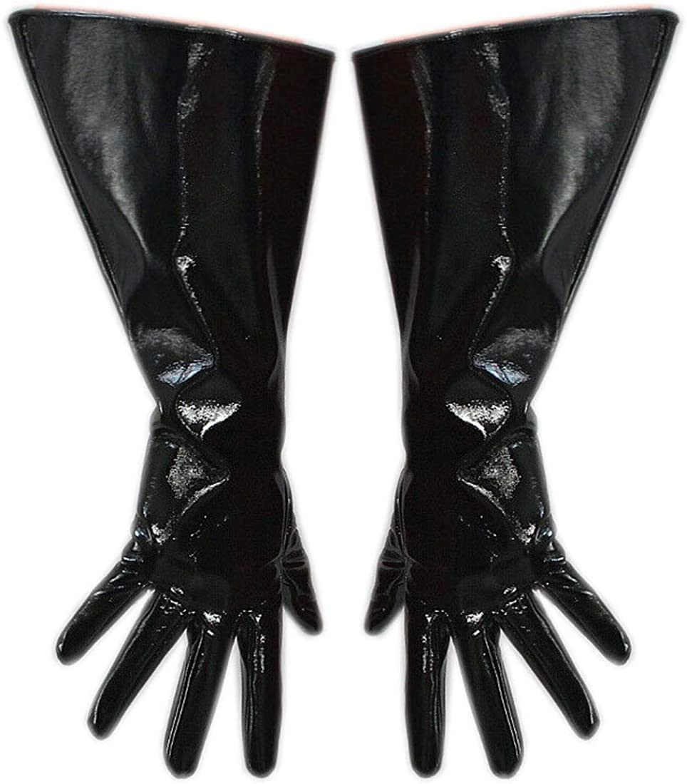 Women's Long Black Faux Leather PU Shiny Ladies Gloves Bar Sexy Opera Light Face Finger Gloves