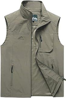 Vest Men's Summer Thin vest Outdoor vest vest Loose vest Quick-Drying vest Multi-Pocket vest (Color : Khaki, Size : 6XL)