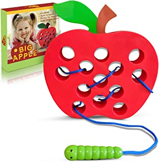 Playahoy Apple Lacing Plastic Threading Toy Fun Learning Game for Kids l Builds Basic Life Skills l Great Airplane Car and...