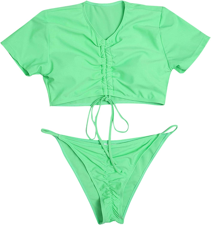 Fishoneion Women's Sleeve Swim Shirt SetHigh Waisted Swimsuits Strap Decoration Summer Swimsuit Front Thong Bikini