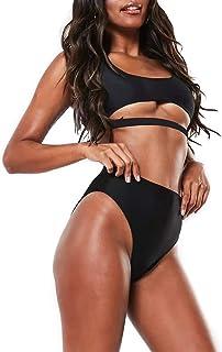 DaiLiWei Womens High Waisted Swimsuits Sports Bathing Suits Cutout Crop Swimwear Strappy Bikini Sets