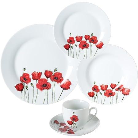 Trend'up - Service 30 pièces porcelaine poppy rouge